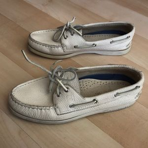 Cream Sperry Top-Sider pebbled leather shoes